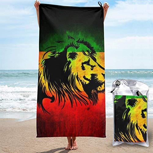 D.ADcustom 3D Impreso Rasta Lion Quick Dry Absorbente Toalla de baño Toalla de playa 27.5 'x55