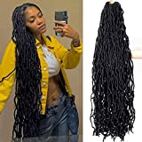 36 Inch New Soft Locs Crochet Hair Pre Looped 4 Packs Super Long Faux Locs Crochet Braids Curly Wavy Goddess Locs Dreadlocs 21 Stands Synthetic Hair For Black Women (1B, 36 Inch(Pack of 4))