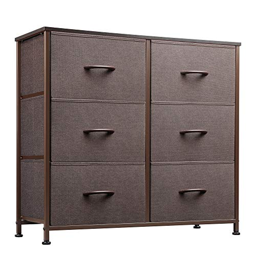 WLIVE Dresser with 6 Drawers, Fabric dresser, Tower Dresser for Bedroom, Hallway, Nursery, Entryway, Closets, Sturdy Metal Frame, Wood Tabletop, Easy Pull Handle, Charcoal Gray