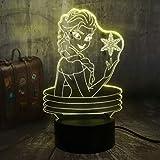 Belle Reine 3D Visuel Lampe Illusion Bureau LED Veilleuse NeigeJouets Home...