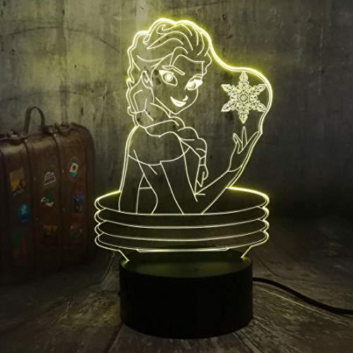 Belle Reine 3D Visuel Lampe Illusion Bureau LED Veilleuse Neige Jouets Home Decor Fille Bébé Anniversaire De Noël Cadeaux
