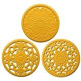 BSTQC Ollas sartenes con Aislamiento Flexible Antideslizante Durable Posavasos Accesorios de Cocina 3pcs / Set de Silicona Trivet Mat Tallado Calientes Almohadilla Aislante Pads
