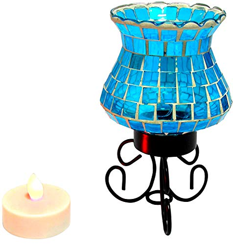 Mosaic Lantern - Fake Candles Electric Candle, Mosaic Glass Lamp with Battery Operated Candles and Remote Control