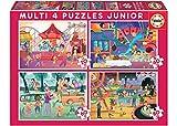 Educa Borrás- Puzzles Progresivos Multi 4 Junior (20-40-60-80) Parque Atracciones + Fiesta Infantil (18601)