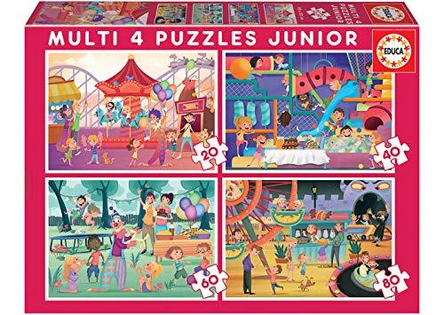 Educa- Multi 4 Junior-Parque Atracciones & Fiesta Conjunto de Puzzles, Multicolor (18601)