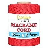 Creative DECO 3mm x 100m Cuerda Macramé Hilo Algodón Roja | 3 mm Espesor +-0.5 mm | Cordón Rollo Grande Natural Grueso Fuerte Decoración Manualidades Artesanía Bricolaje y Embalaje