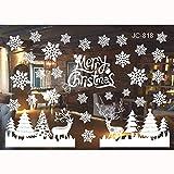 FLZONE 2 Hojas Adhesivos de Ventana de Navidad,Extraíble PVC Pegatinas Electrostáticas,Pegatinas de Navidad Pegatina Copo de Nieve Alce para Decoraciones de Escaparate de Navidad de Navidad