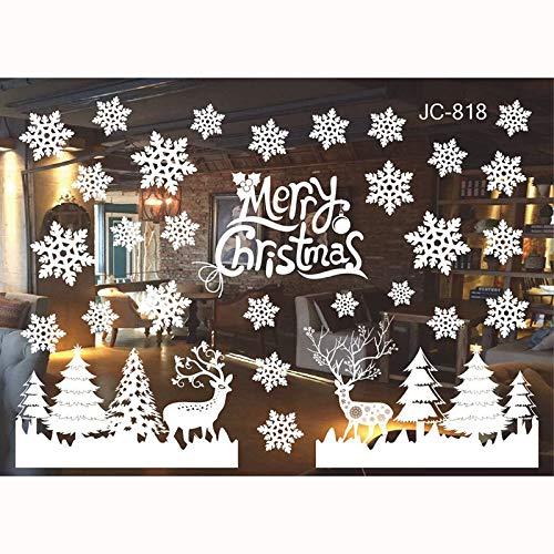 FLZONE 2 Fogli Vetrofanie Natale, Vetrofanie Natalizie, Vetrofanie Natalizie per Finestre, Vetrofanie Natalizie per Negozi per Vetrine di Natale(Fiocchi di Neve e Cervi)