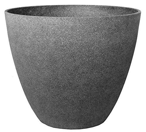 Gartenpirat Pflanzkübel groß Ø 44 Höhe 37 cm Kunststoff Topf Steinoptik graphti-grau