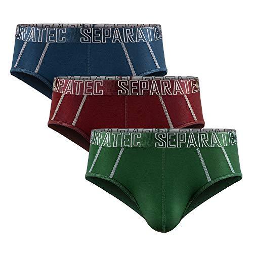 Separatec Herren Boxer Slips Glattes Bambus Rayon mit getrennten Beuteln Unterwäsche 3er Pack Boxershorts Stilvolle mehrfarbige Trunks (L, Slips: Mehrfarbig)