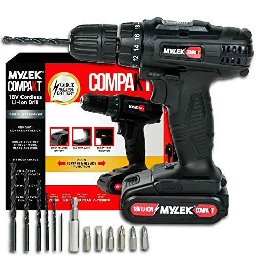 MYLEK MYCCB1 18V Cordless Drill Driver Lithium Ion Powerful Battery Electric Screwdriver Set, 18 Volts, 13pce Accessories Kit, Black