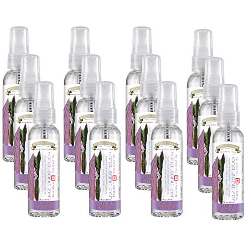 Balm of Gilead 2 oz French Lavender Hand Sanitizer Spray (Pack of 12), Lavender, 80% Alcohol | SAFE + EFFECTIVE + MOISTURIZING | Mini Travel Size Hand Sanitizers, Liquid