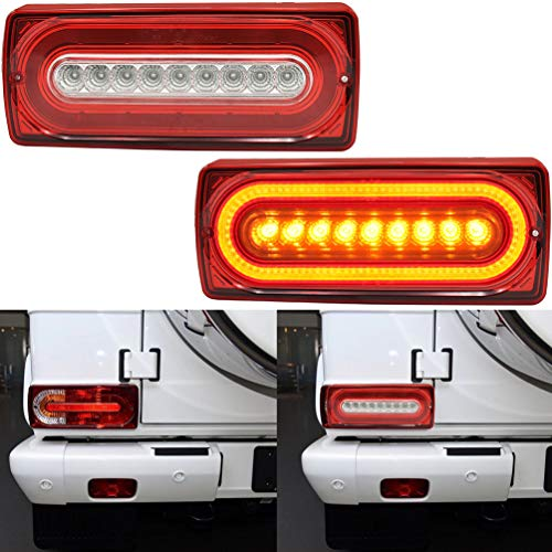 G500/G55 Led Tail Backup Light Kits For 1990-2018 Mercedes Benz G-class W463 G500 G55 AMG G550 Red/Amber LED Tail Rear Fog Driving Turn Signal Brake/Reverse Clear Lens Lights Lamp