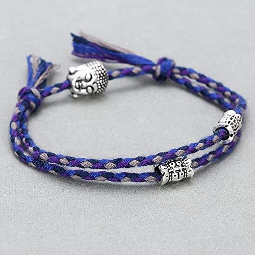 YOUHU Pulseras De Cuerda,Pulseras De Amistad Hechas A Mano Budista Tibetano Azul/Púrpura Cuerda De Algodón Amuleto De Buda Pulseras BFF Ajustables Pulsera De Pareja De La Suerte