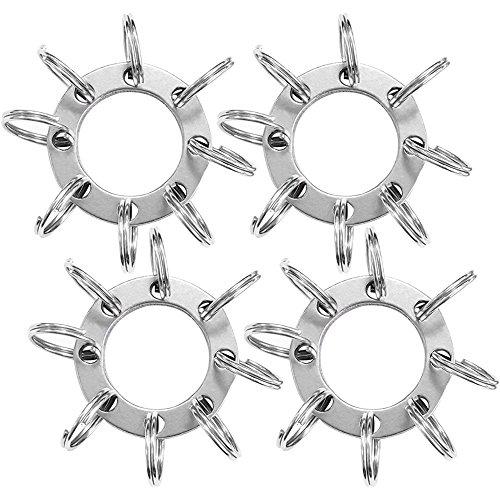 COM-FOUR® 4 tussenringen van roestvrij staal, elk met 8 sleutelringen, sleutelring (04 stuks - verlengring + sleutelhangers)