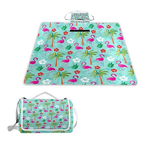 TIZORAX Picknickdecke mit Flamingos und Palmen, wasserdicht, für den Außenbereich, faltbar, für Picknick, Handliche Matte für Strand, Camping, Wandern