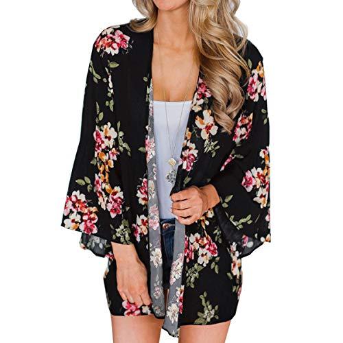 ECOMBOS - Kimono de gasa para mujer, estilo bohemio, ligero Negro L