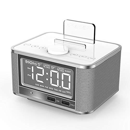 Greatangle-UK M7 Altavoz de Carga inalámbrico Reloj Despertador Soporte Audio Radio FM Altavoz Reloj Despertador Digital para Dormitorio