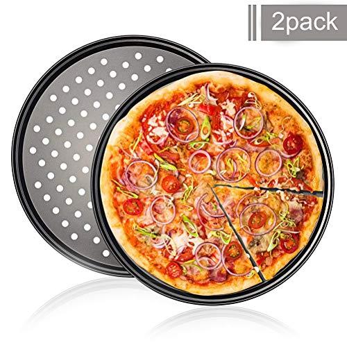 WENTS Pizzablech 2er Set Rund Gelocht Antihaft Pizza & Flammkuchen Carbonstahl Knusperblech, ∅ 32 cm