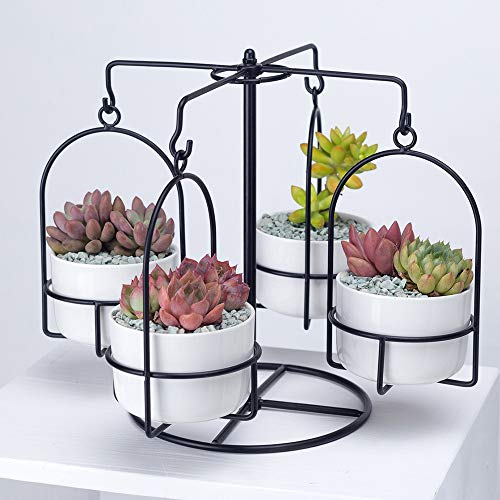 Carousel Plant Stand with 4 Pots Succulent - White Modern Decorative Ceramic Flower Planter Plant Pot with Drainage - Home Office Desk Garden Mini Cactus Pot Indoor Decoration