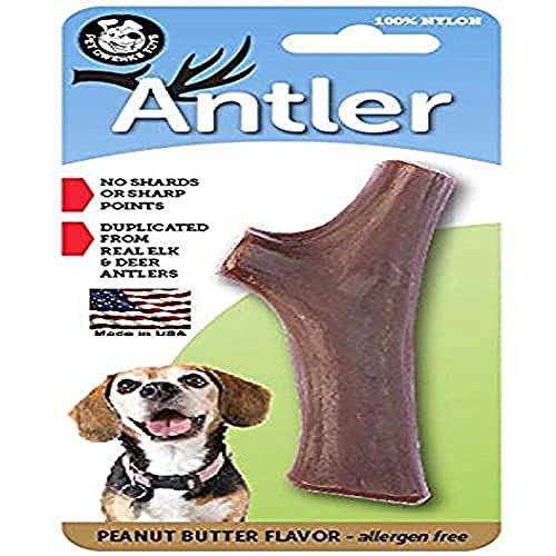 Pet Qwerks Peanut Butter Antler Jouet à mastiquer en Nylon (Made in USA)