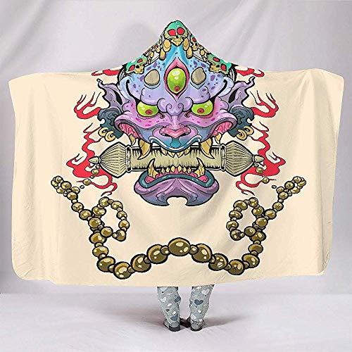 Zseeda Acuarela Oni Skull Painting Estilo japonés Máscara