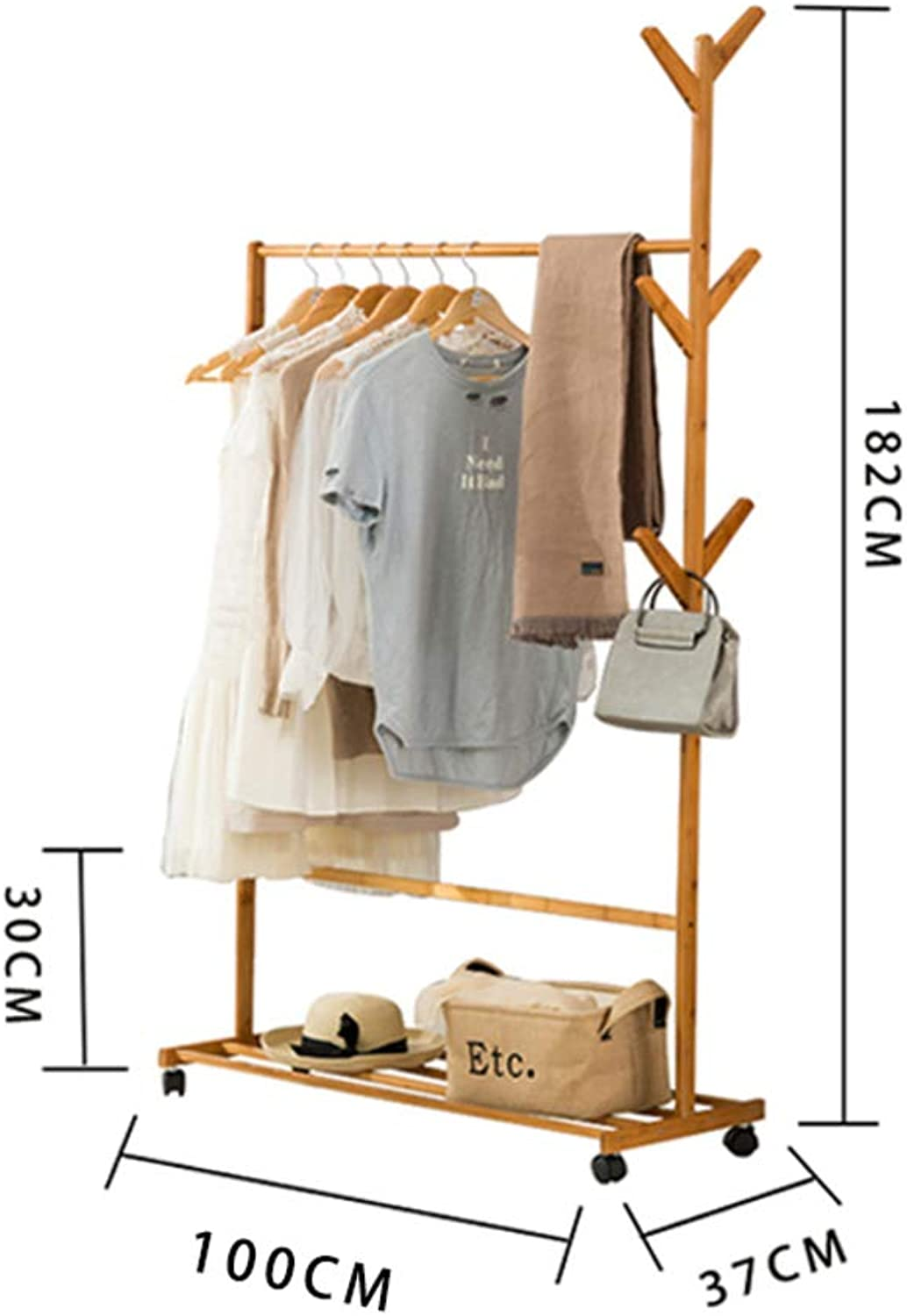 Bamboo Coat Rack,Coat Tree Free Standing,Simple Garment Rack 6 Hooks for Jacket Purse Scarf Rack Easy Assembly-C 100x37x182cm(39x15x72inch)
