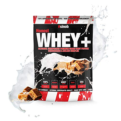 sinob Honest Whey weiproteïne Zoute Karamel 1 x 1000 g. 12,5% isolaat. Direct oplosbaar eiwitpoeder met BCAA & EAA Made in Germany