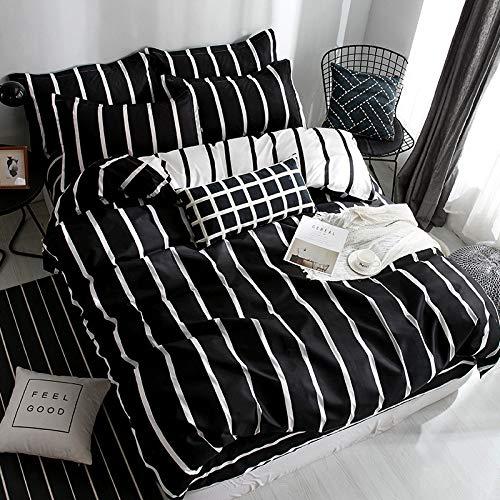 BH-JJSMGS 4-teilige gestreifte Karierte Bettwäsche aus Aloe-Baumwolle, Bettbezug und Kissenbezug, schwarz-weiße Streifen 150 * 200 cm