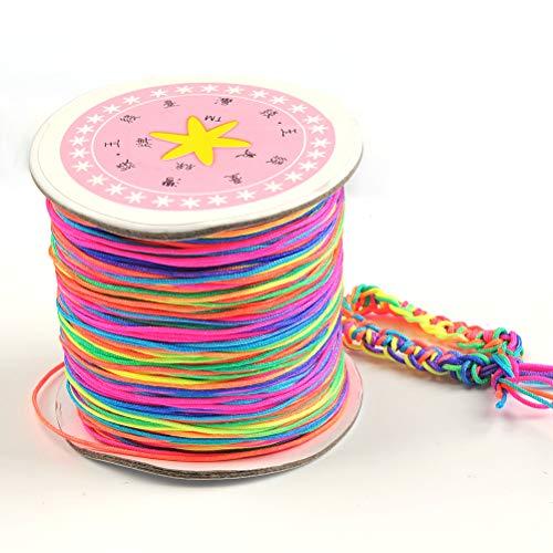 QLOUNI Hilo de cordón de perlas de arco iris de 110 M, hilo de nailon para manualidades DIY para hacer pulseras, collares, joyería