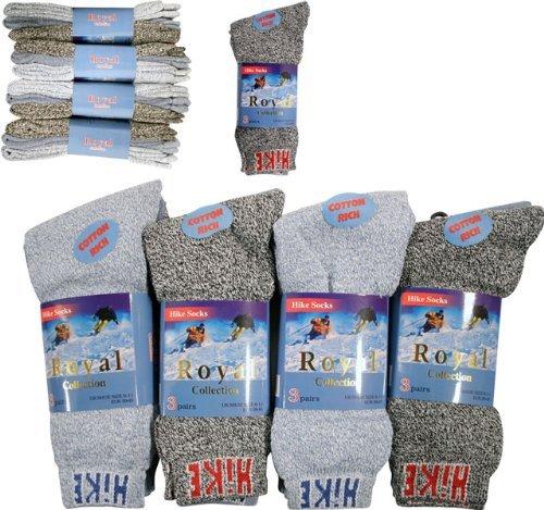 Royal Lot de 12 paires de chaussettes chaudes en coton pour homme 39-45