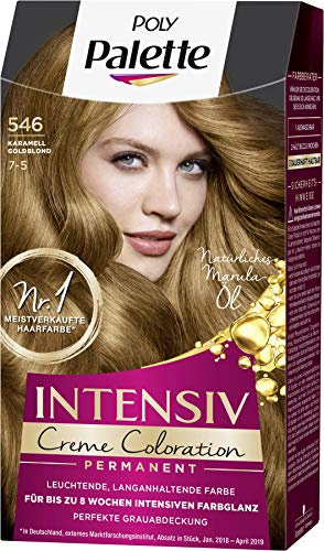 SCHWARZKOPF POLY PALETTE Intensiv Creme Coloration 546/7-5 Karamell Goldblond, 3er Pack (3 x 128 ml)