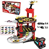 Aniwon Car Track Toy Interactive DIY Funny Helicopter Playset Car Parking Garage Toy Parking Lot Toy Set for Kids