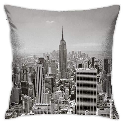Kissenbezug Kissenhülle Kissenbezüge Kopfkissenbezug Graue Farbe New York City mit Verstecktem Reißverschluss für Sofa Auto Bett,45x45CM