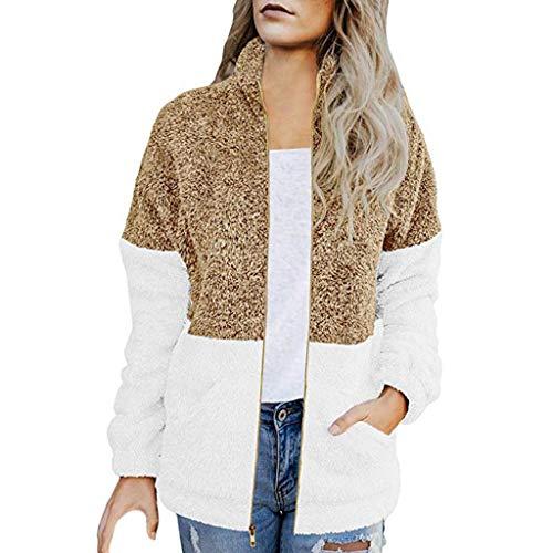 Dasongff dames herfst-winter casual naden contrast rits zakken pluche jas soort jas en warm wame kraag warme pluche mantel