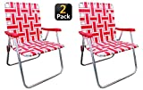 Outdoor Spectator (2-Pack) Classic Reinforced Aluminum Webbed Folding Lawn/Camp Chair (Red)