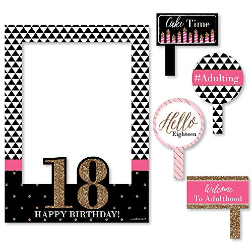 Big Dot of Happiness Chic 18th Birthday - Pink, Black and Gold - Birthday Party Selfie Photo Booth Picture Frame & Props - Printed on Sturdy Material