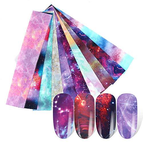 Kalaokei DIY Star Night Sky Kleber Nail Art Aufkleber Transferpapier Aufkleber Maniküre Dekor Aufkleber Pack Aufkleber Aufkleber Für Laptop, Wasserflaschen, Gepäck, Skateboard 1#