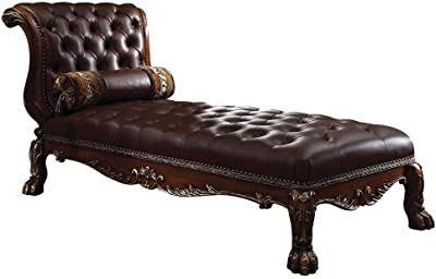 ACME Dresden Cherry Oak Chaise with 1 Pillow