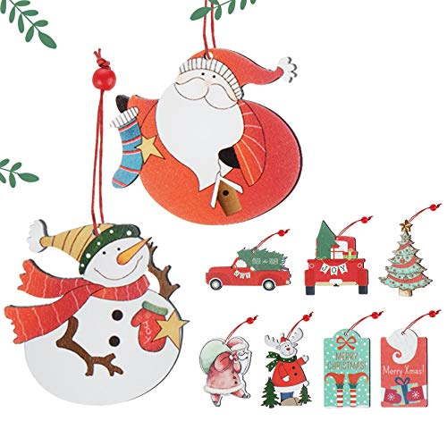 ABSOFINE Christmas Ornaments 9 Pcs Wooden Tree Decorations Wood Hanging Crafts Retro Gift Tags Santa Claus Snowman Truck Christmas Tree Ornament
