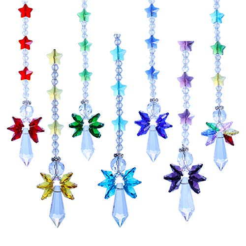 YUFENG 7pcs/set Crystal Suncatcher Chakra Colors Beads Angel Window Hanging Ornament Rainbow Suncatcher for Christmas Day,Wedding,Plants,Cars,Window Decor
