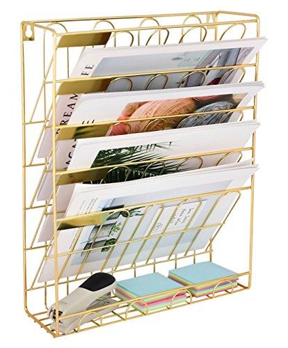 EasyPAG - Soporte para archivador de pared con 6 niveles, tamaño A4, color dorado