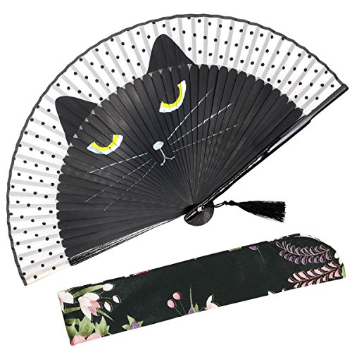 OMyTeaSexy Cat Folding Hand Held Fan for Women - with a Fabric Sleeve for Protection - Chinese/Japanese Vintage Retro Style for Wedding, Dancing, Church, Party, Gifts (Black)