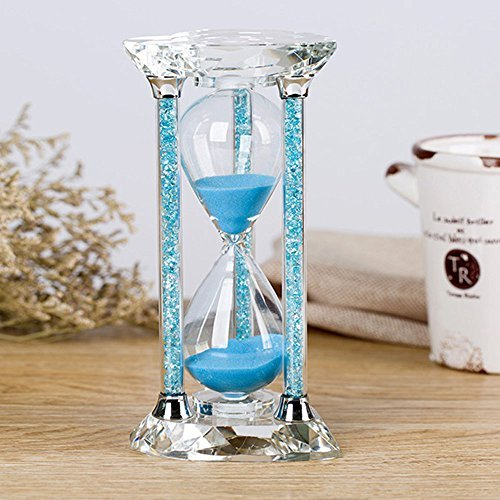 Borway 30 Minute Hourglass Timer, Heart Shaped Sand Timer with Sparkling Pillars, Eye-Catchy Blue Sands Clock for Home Kitchen Office Décor Christmas Gift (30 Min, Blue,1 Pack)