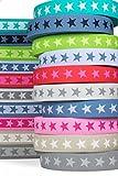 Sehr hochwertiges elastisches Gummiband mit Sternen 40 mm beidseitig verwendbar in vielen Farben zur Reparatur und Gestaltung von Hosenbändern oder Jogginganzügen (8 - Rosa)