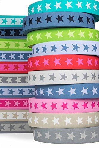 Zeer hoogwaardig elastisch elastiek met sterren 40 mm aan beide zijden bruikbaar in vele kleuren voor reparatie en vormgeving van broekbanden of joggingpakken. 5, rood.