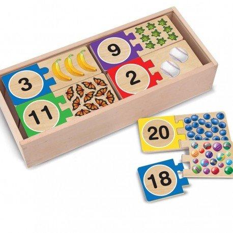 Melissa and doug - Puzzle en bois Apprendre quantités numéros de 1 a 20 Jeu éducatif 40 pièces Enfants