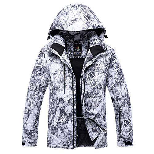 Homme Costume de Ski Coupe-Vent Imperméable Vestes de Ski Snowboard coloré imprimé Jeu de Costume de Neige Manteau d'Hiver-Blanc XXL