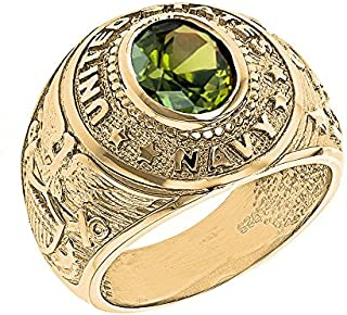 Solid 10k Yellow Gold August CZ Birthstone US Navy Men's Ring