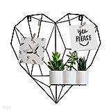 Gadgy Herzförmige Gitterrahmen Wohnzimmer Deko - Metall Memoboard und Organizer mit Zubehör – Drahtgeflecht-Felder für Fotos - Ästhetische Wand Deko im Nordischen Stil